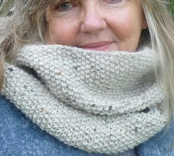 photo of model wearing the infinity scarf